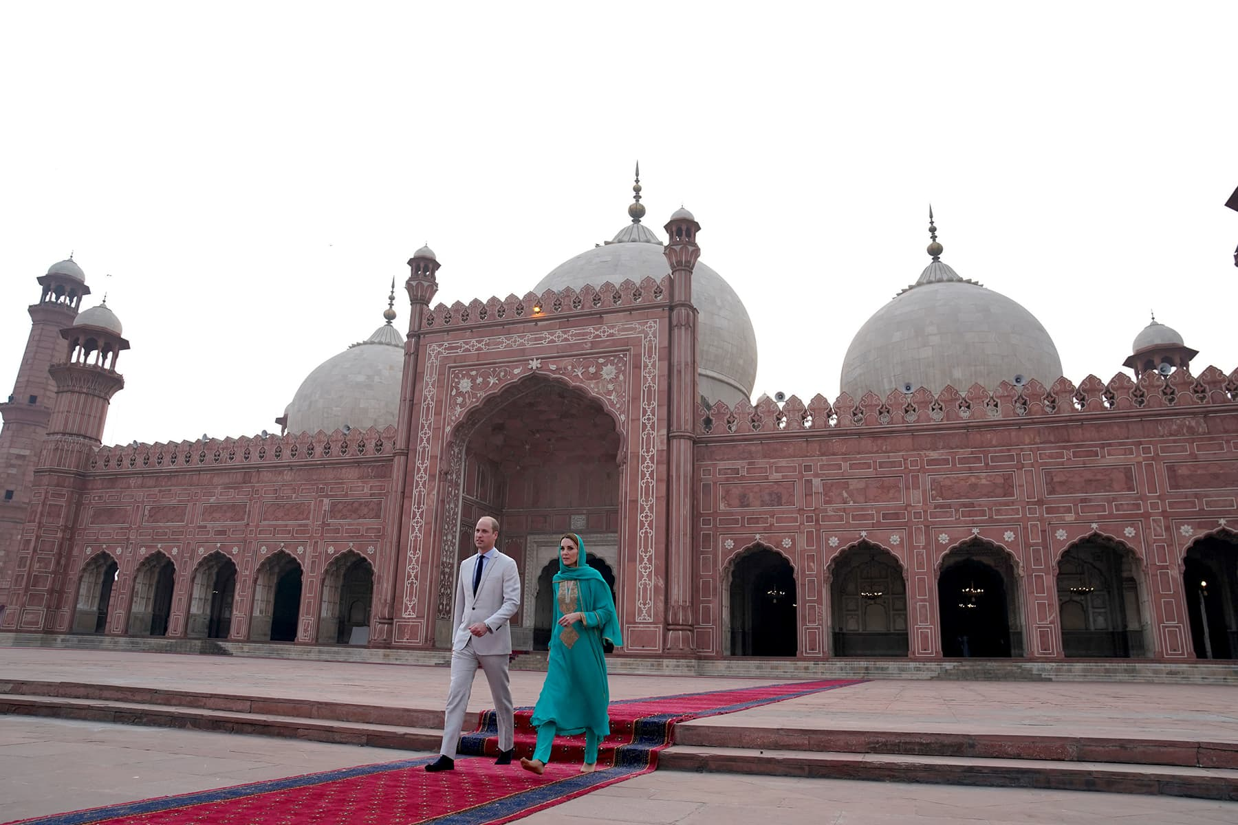William and Catherine visit the historical Badshahi mosque in Lahore on October 17. — Reuters
