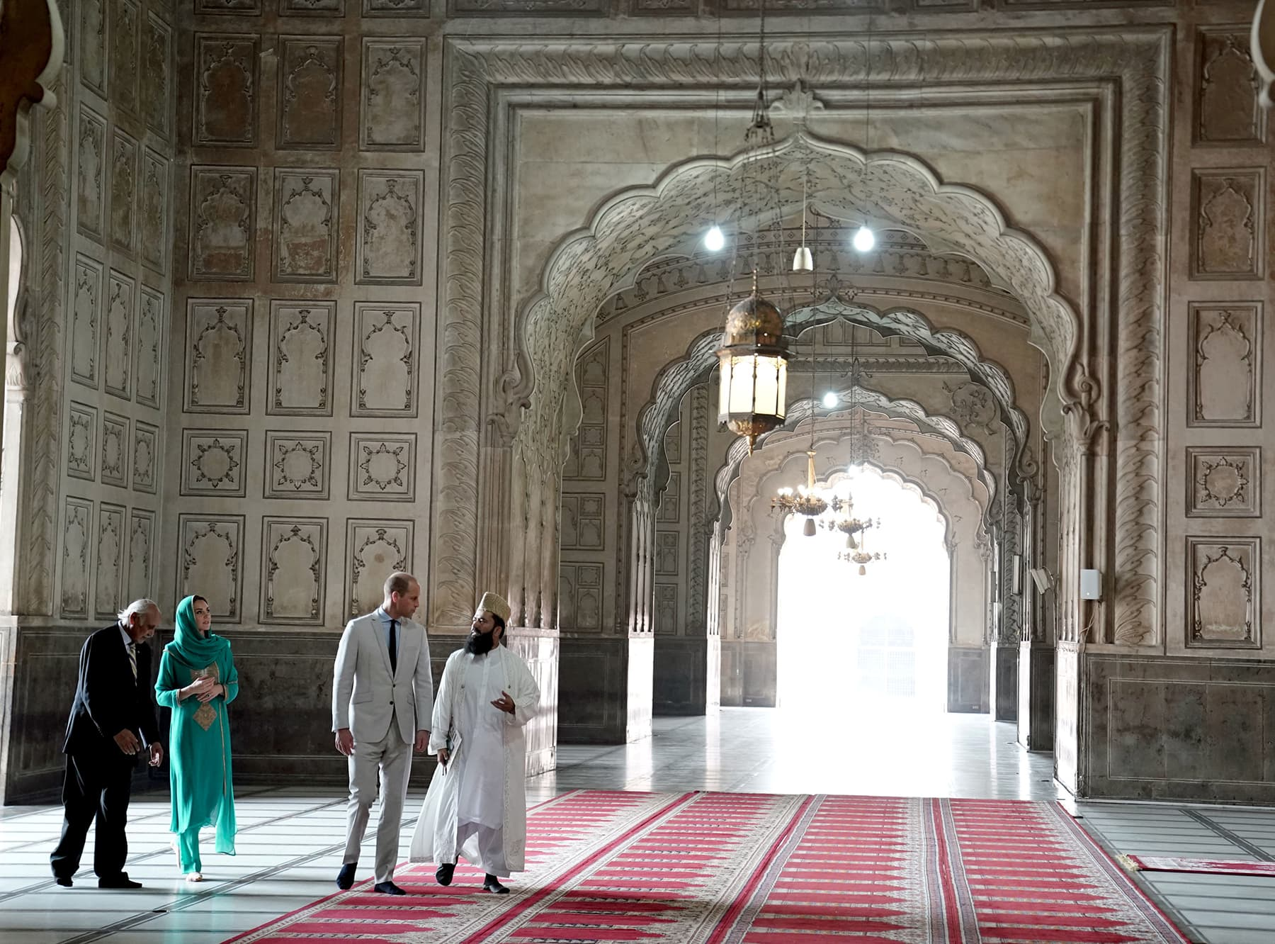 William and Catherine are shown the inside of the Badshahi Mosque in Lahore on October 17. — Reuters