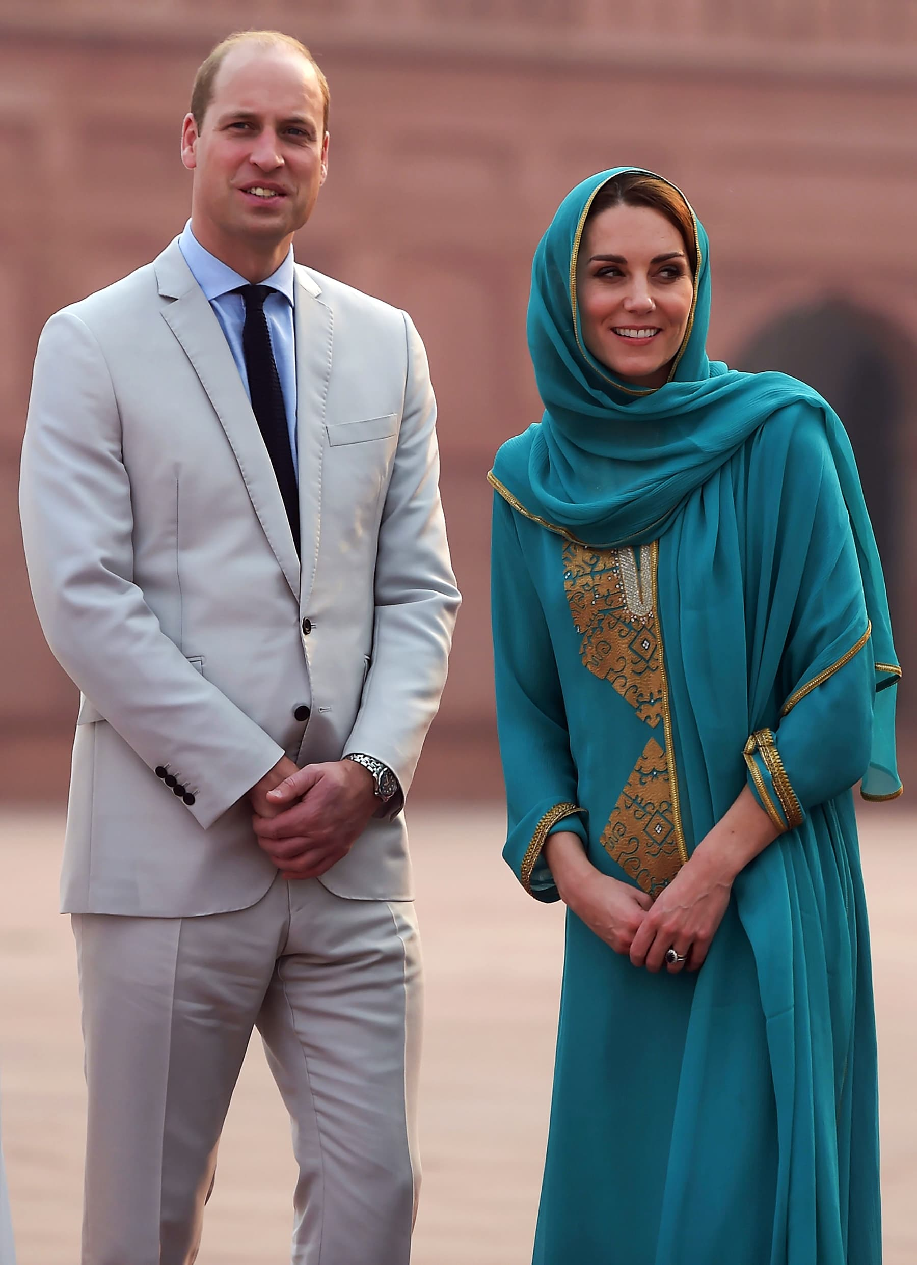 A close up of the royal couple at the Badshahi Mosque in Lahore on October 17. — AFP