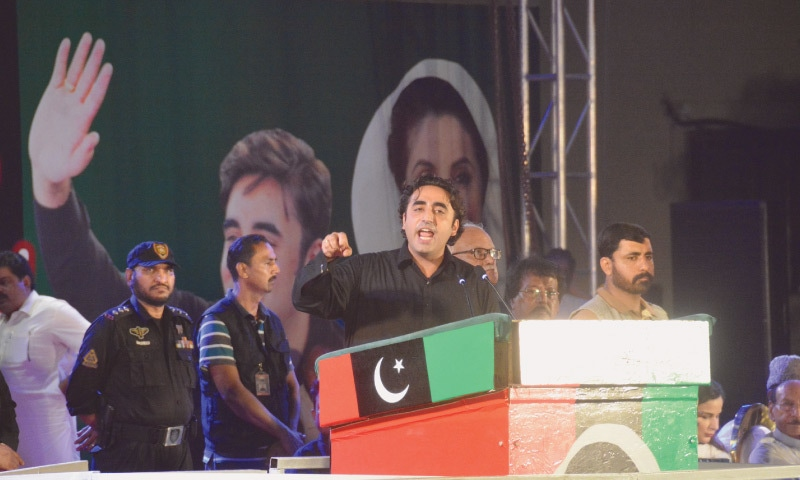 Pakistan Peoples Party chairman Bilawal Bhutto-Zardari addresses a public rally at Mazar-i-Quaid on Friday.—White Star