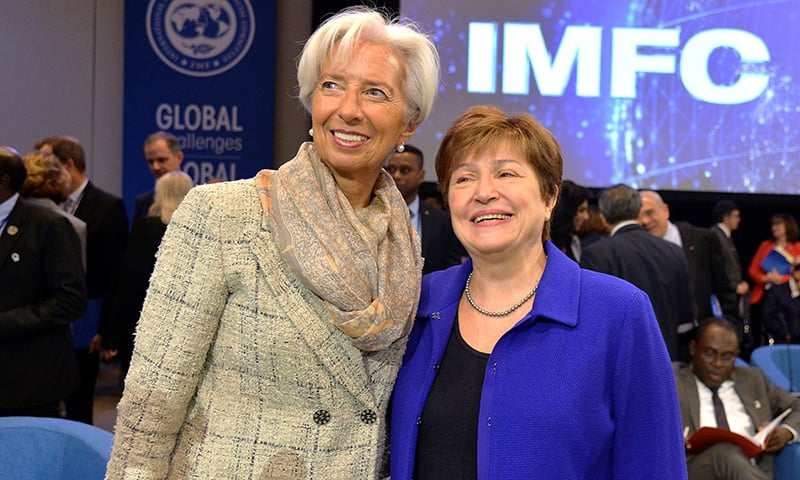 Former International Monetary Fund (IMF) Managing Director Christine Lagarde, now confirmed as the next president of the European Central Bank (ECB) poses with current IMF Managing Director Kristalina Georgieva, as they meet for the International Monetary Finance Committee (IMFC) Plenary, during the IMF and World Bank's 2019 Annual Meetings of finance ministers and bank governors, in Washington, US, on Saturday. — Reuters