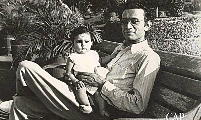 Saadat Hasan Manto with his daughter Nighat | Photo courtesy Vintage Pakistan