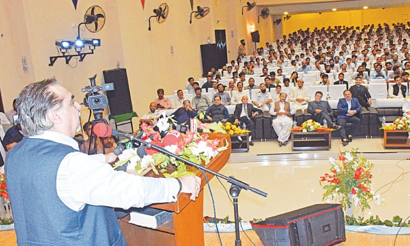 GOVERNOR Imran Ismail speaks at the Cadet College Petaro ceremony on Saturday.—Dawn