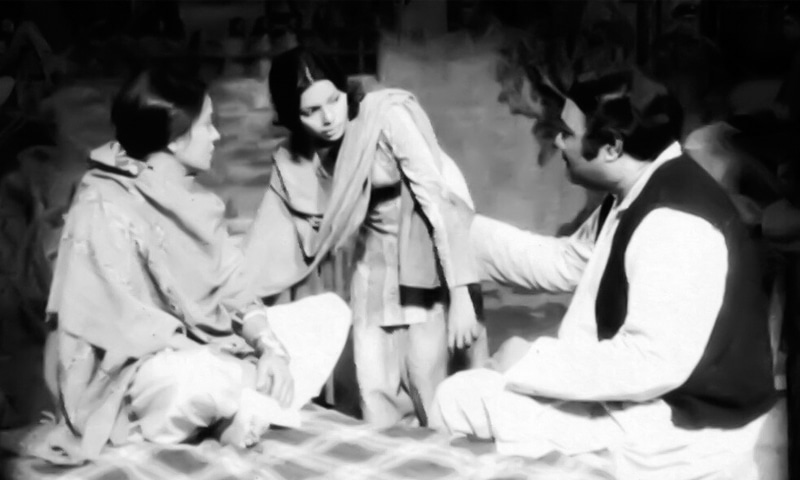 Zaheen Tahira, Munawwar Sultana and Zahoor Ahmed in the 1974 production of Khuda Ki Basti