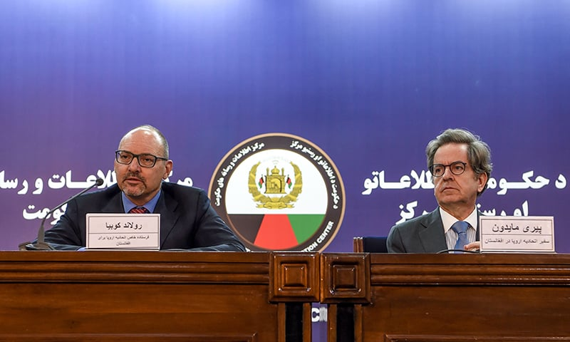 EU Special Envoy for Afghanistan Roland Kobia (L) and EU Ambassador to Afghanistan Pierre Mayaudon (R) look on during a press conference in Kabul on Sunday. — AFP