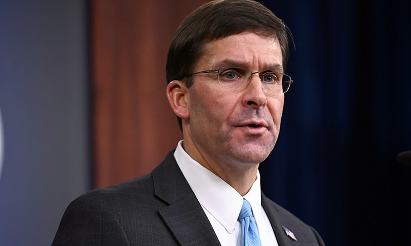 US Defense Secretary Mark Esper addresses reporters during a media briefing at the Pentagon in Arlington, Virginia, US, October 11. — Reuters
