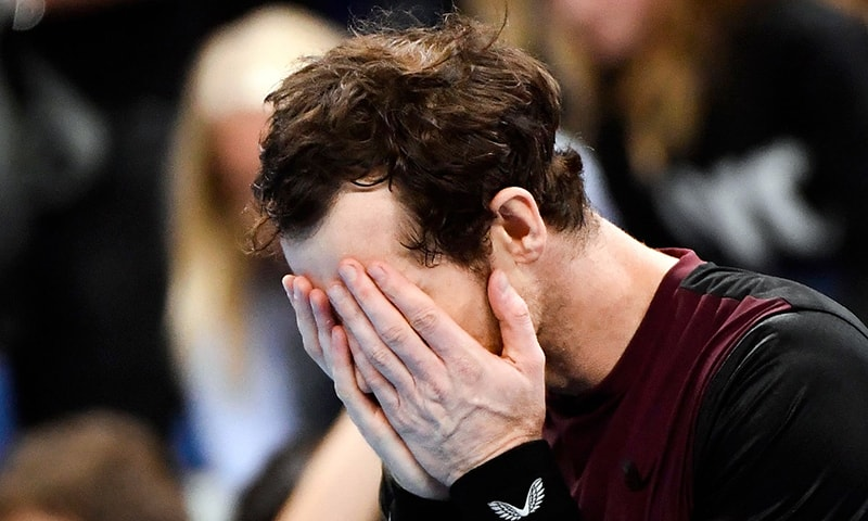 Britain's Andy Murray celebrates and reacts after winning against Switzerland's Stanislas Wawrinka in their men's single tennis final match of the European Open ATP Antwerp, on Sunday. — AFP