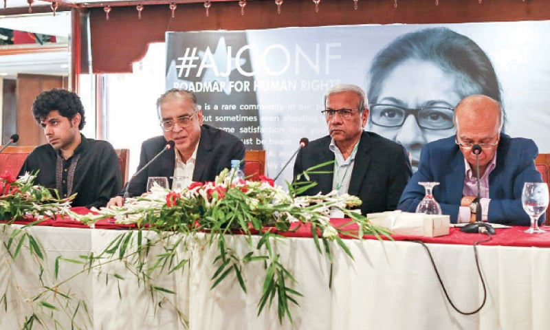 Economists Dr Hafeez Pasha (L), Kaiser Bengali (C) and Shahid Kardar at a session titled 'Economic and Social Inequality' on the concluding day of Asma Jahangir conference at a local hotel on Sunday. — White Star