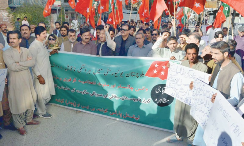 QUETTA: National Party workers protest outside the press club on Sunday, demanding action against people involved in the harassment scandal.—PPI