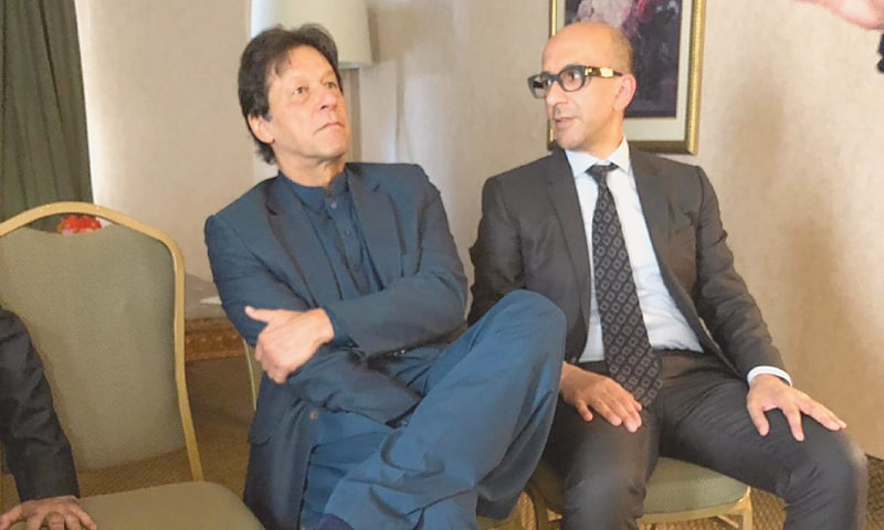 Aneel Mussarat pictured with Imran Khan.—Dawn