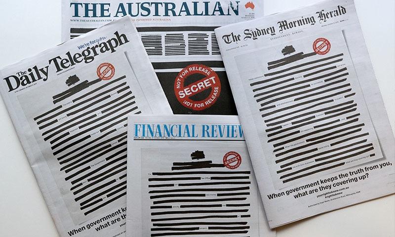 آسٹریلیا: بغیر اشاعت صفحات سیاہ کرکے اخبارات کا احتجاج
