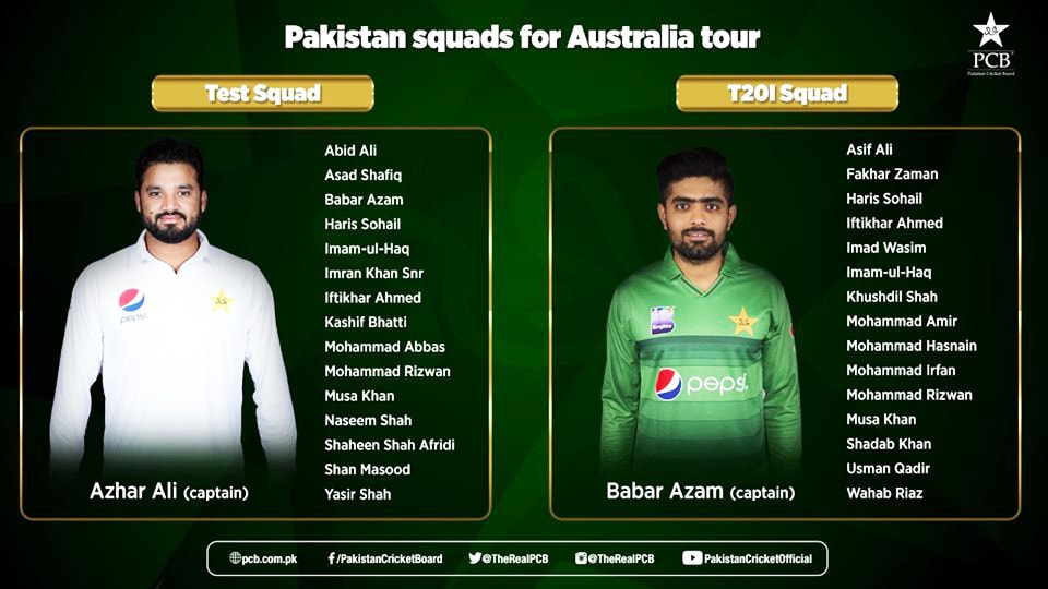 Pakistan squad for Australia tour.— Photo courtesy of PCB