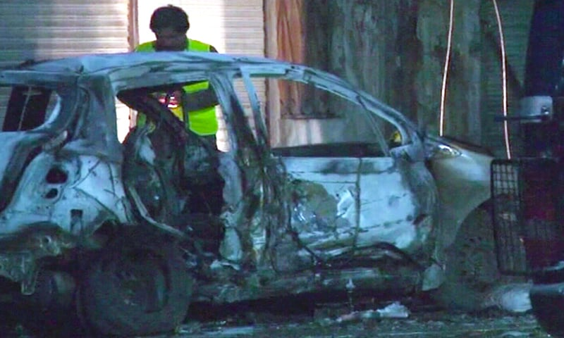 The blast also caused damage to cars parked nearby. — DawnNewsTV