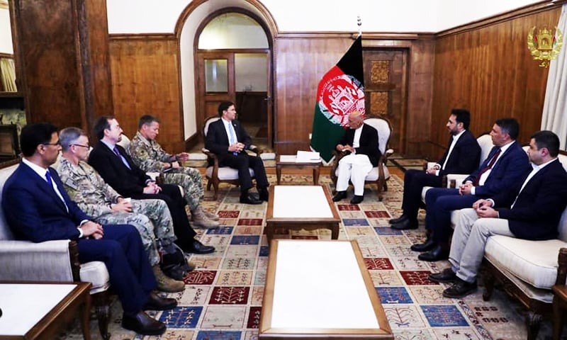 Afghanistan President Ashraf Ghani meets with US Defence Secretary Mark Esper in Kabul, Afghanistan, October 20, 2019. — Reuters
