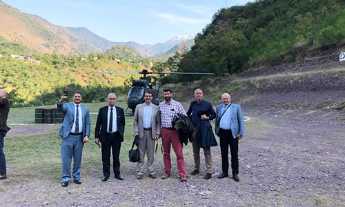 "A team of foreign diplomats visit Neelum Valley following Indian army's claims to have ""smashed four terror launched pads"" in the region. — Photo courtesy author"