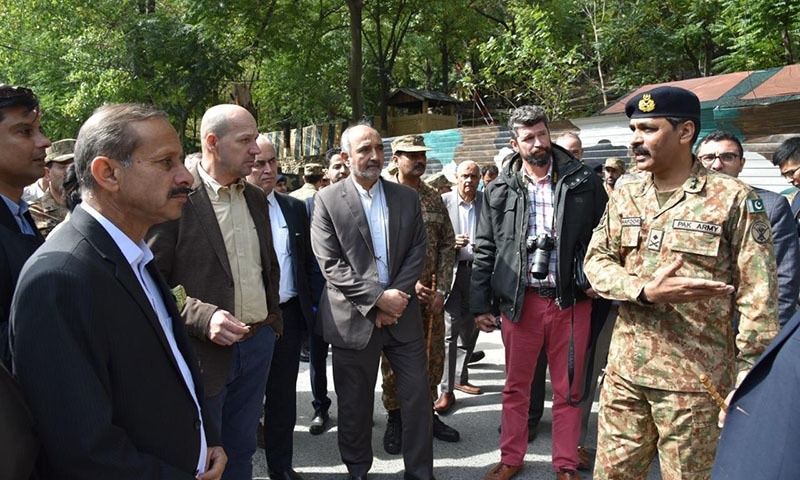 Inter-Services Public Relations Director General Maj Gen Asif Ghafoor briefed the diplomats and media persons about the situation in the area. — ISPR
