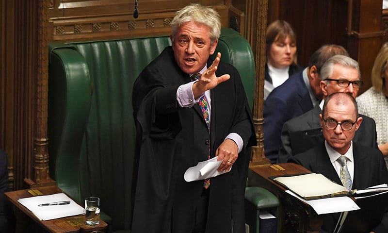 A handout photograph released by the UK Parliament shows UK Parliament Speaker John Bercow speaking in the House of Commons in London on Monday, on the European Union (EU) Withdrawal Act 2018 Motion. — AFP
