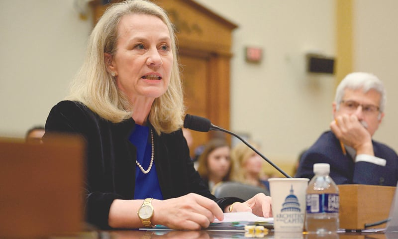 ANOTHER senior official looks on as US acting Assistant Secretary of State for South and Central Asian affairs Alice Wells speaks during the hearing of the Congress subcommittee.—AFP