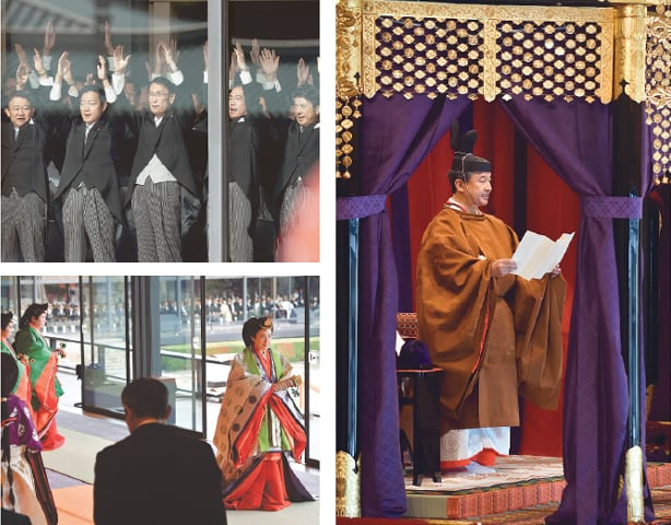 TOKYO: Emperor Naruhito delivers a speech (right) during his enthronement ceremony on Tuesday. Japanese officials shout (top left) cheers of banzai (10,000 years) for the emperor. Empress Masako is seen leaving after the end of the ceremony.—Agencies