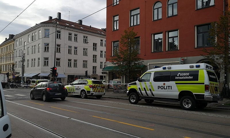 Police cars are seen at the scene where an armed man stole an ambulance in Oslo, Norway on October 22, 2019, in this image taken from social media. — Eirik Befring via Reuters