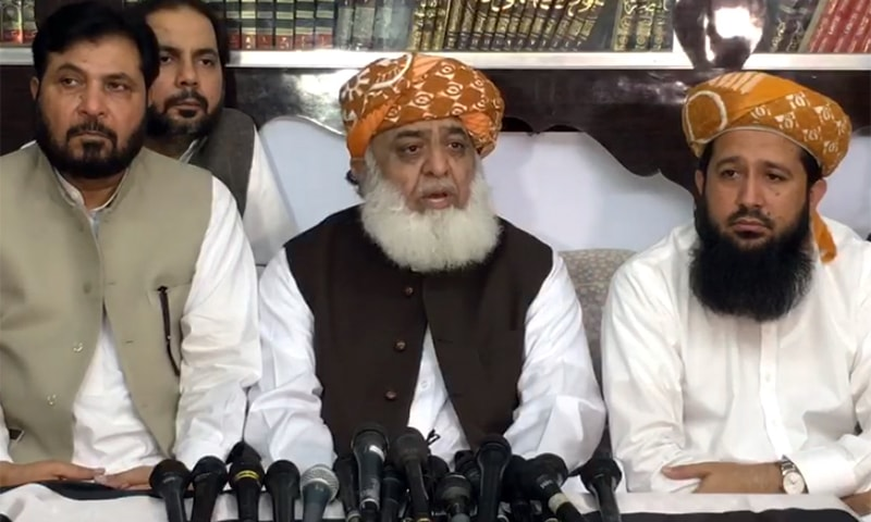 JUI-F chief Maulana Fazlur Rehman addressing a press conference in Sukkur on Thursday. — Video screengrab by author