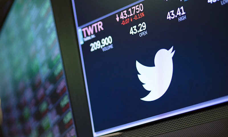 In this September 18 file photo, a screen shows the price of Twitter stock at the New York Stock Exchange. — AP