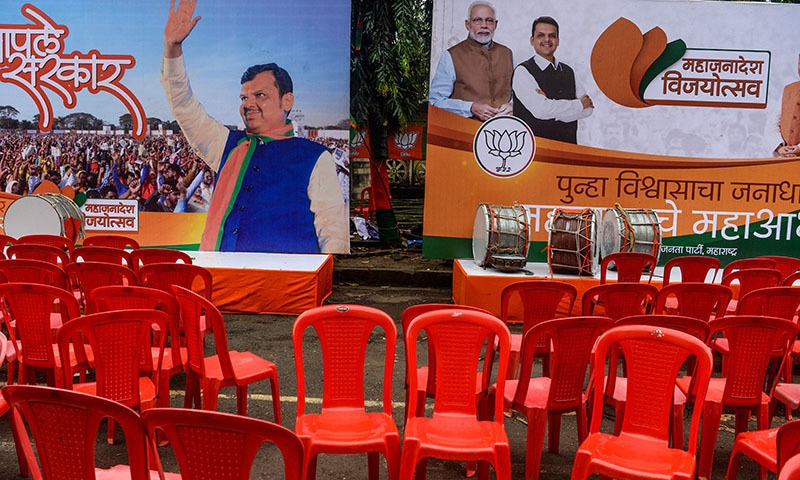 A general view of an empty stage being set up for supporters of India's Prime Minister Narendra Modi and his ruling Bharatiya Janata Party (BJP) as the Maharashtra state election results are beign announced, outside the BJP headquarters in Mumbai on October 24. — AFP