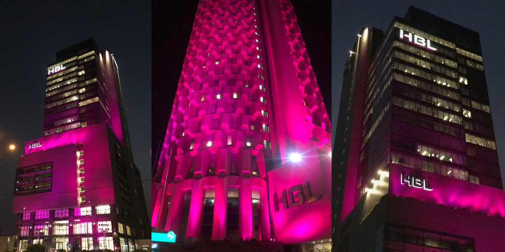 A look at HBL's offices in Karachi turning pink to support the cause