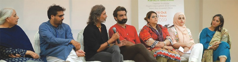 A panel discussion for Karachi Art Directory. Left to right: Mehr Afroz, Farrukh Shahab, Munawar Ali Syed, Bushra Hussain, Nimra Khan and Tazeen Hussain