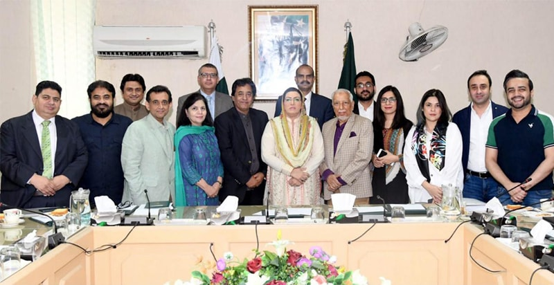 Special Assistant to the Prime Minister on Information and Broadcasting, Dr Firdous Ashiq Awan, with a delegation of Pakistan Film Producers' Association in Islamabad