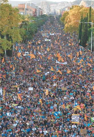 Barcelona: People gather during a pro-independence demonstration called by Catalan National Assembly (ANC) and Omnium Cultural organisations against the conviction of Catalan separatist leaders for the 2017 attempted secession on Saturday.—AFP
