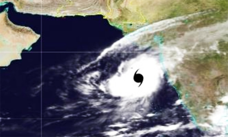 """""""Kyarr is likely to move west-northwestwards towards Oman coast and intensify further into an extremely severe cyclonic storm during next 24 hours,"""" the PMD said in the last night advisory. — Photo courtesy of PMD"""