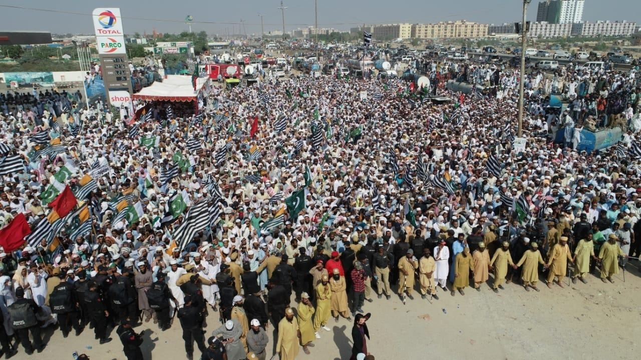 A view of the 'Solidarity with Kashmir' rally held at Karachi's Sohrab Goth. — JUI-P