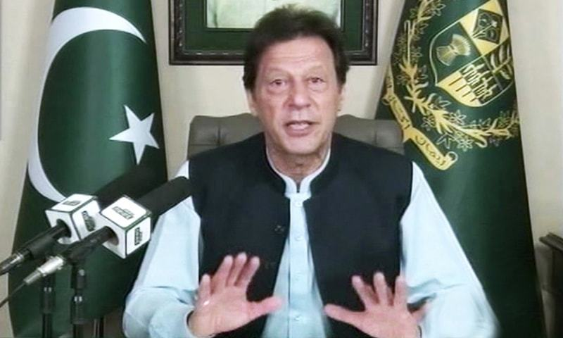 "Occupied Kashmir has been turned into the ""largest prison on the planet"", says Prime Minister Imran in his message on October 27. — Photo courtesy of DawnNewsTV"