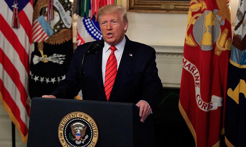 ٹرمپ نے واشنگٹن میں پریس کانفرنس میں ابوبکر البغدادی کی ہلاکت کا اعلان کیا—فوٹو:اے پی