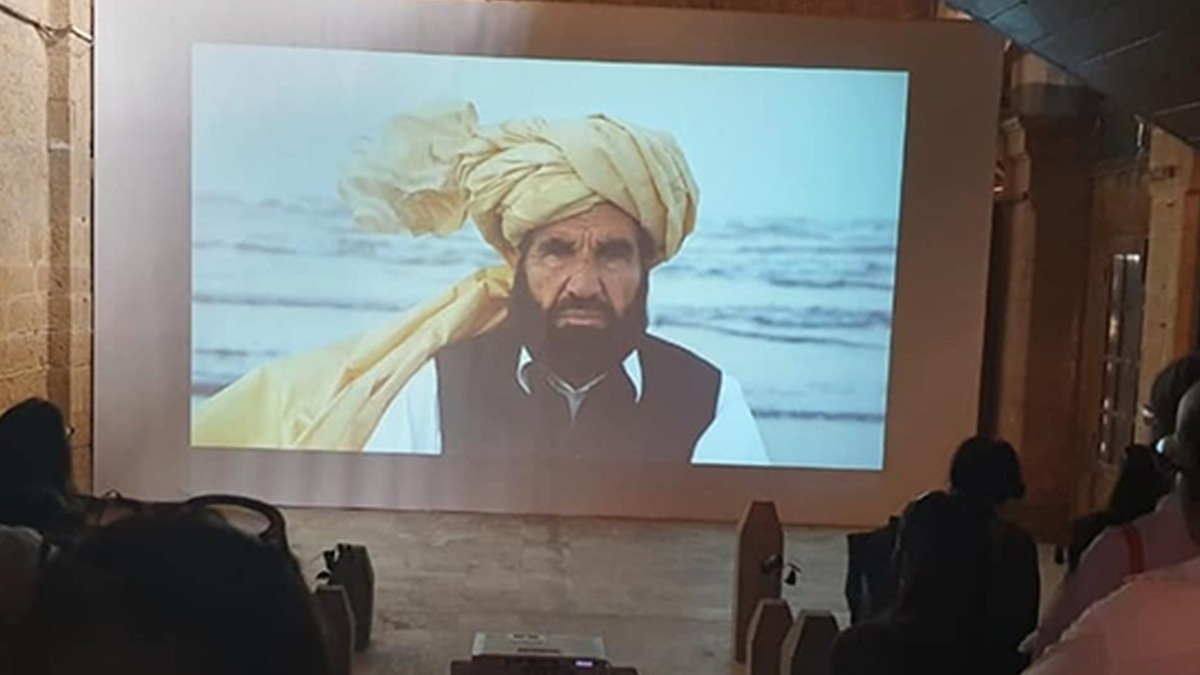 The documentary accompanying Suleman's exhibit featured Naqeebullah Mehsud's father. —Photo credits: Mohsin Sayeed
