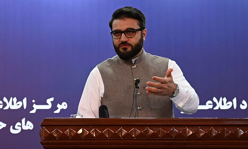 Afghanistan's National security adviser Hamdullah Mohib  gestures as he speaks during a press conference in Kabul on October 29, 2019.  — AFP