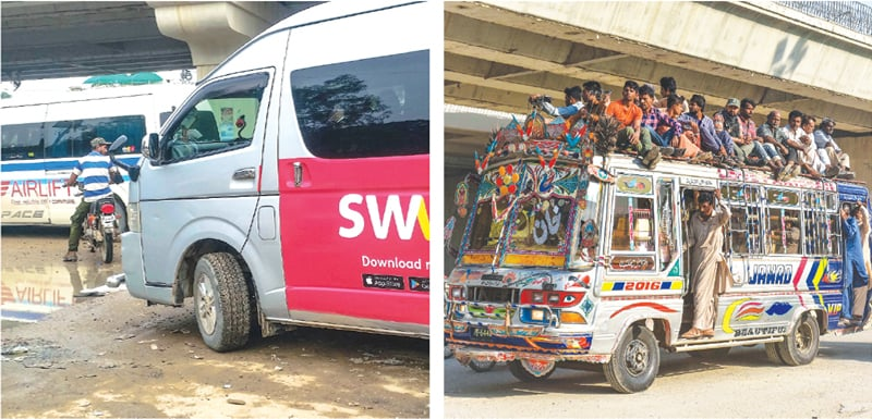 Vehicles of bus ride-sharing apps can now be seen on the city's roads as the alternative (right) is quite unpalatable for commuters.—Fahim Siddiqi / White Star