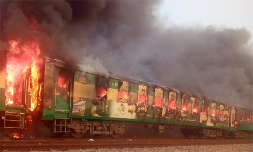 Fire was caused by a cylinder blast, says Railways Minister Sheikh Rashid. — Photo provided by Adnan Sheikh