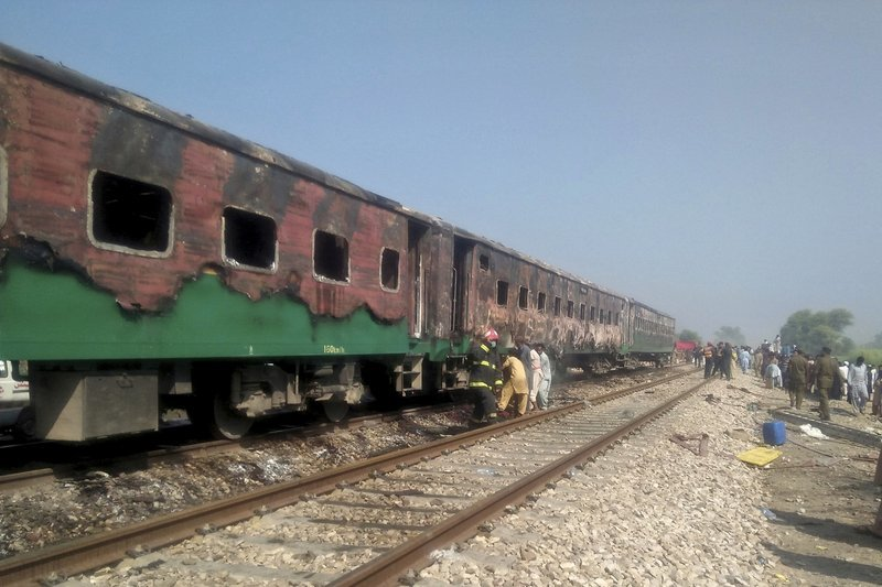Officials examine a train damaged by a fire in Liaquatpur on Thursday. — AP