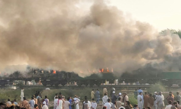 Some of the passengers, many of whom were religious pilgrims travelling to a congregation in Lahore, had been cooking breakfast when two of their gas cylinders exploded, officials said. —  Pakistan's Punjab Emergency Service Rescue 1122 via AFP