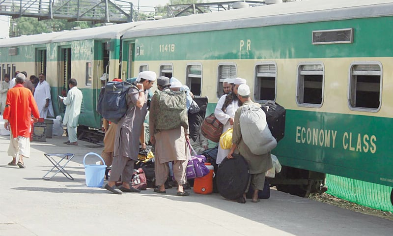 People headed to the Tableeghi Jamaat gathering in Raiwind board a train at Cantt Station on Thursday.—Online