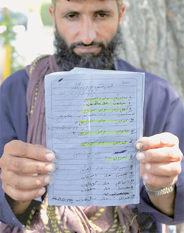 Abdul Jabbar, who lost four members of his family, shows the list of villagers who were killed in an air strike on Sept 19 in Jalalabad, Afghanistan.—AP