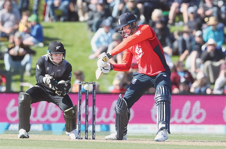 CHRISTCHURCH: England batsman James Vince cuts during the first Twenty20 International against New Zealand at the Hagley Oval on Friday.—AP