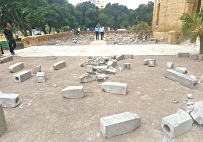 The Killing Fields Of Karachi by Adeela Suleman after it was vandalised by officials
