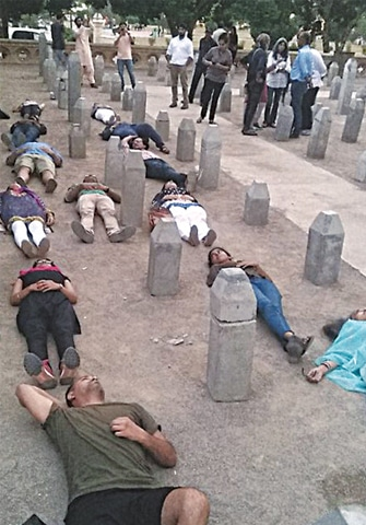Activists, students and artists staged a die-in to protest the censorship