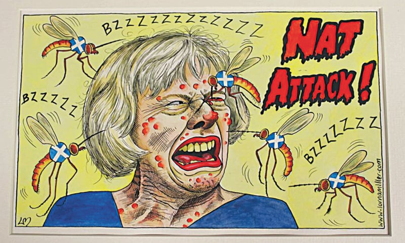 Scottish cartoonist Lorna Miller's cartoon on the second Scottish independence referendum shows Theresa May being attacked by insects bearing the Scottish flag
