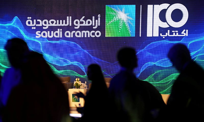 A sign of Saudi Aramco's initial public offering is seen during a news conference by the state oil company at the Plaza Conference Center in Dhahran, Saudi Arabia November 3, 2019. — Reuters