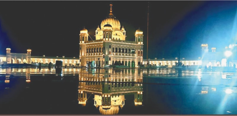 A picture of the Gurdwara Darbar Sahib in Kartarpur that was shown to the prime minister at a briefing on Sunday.