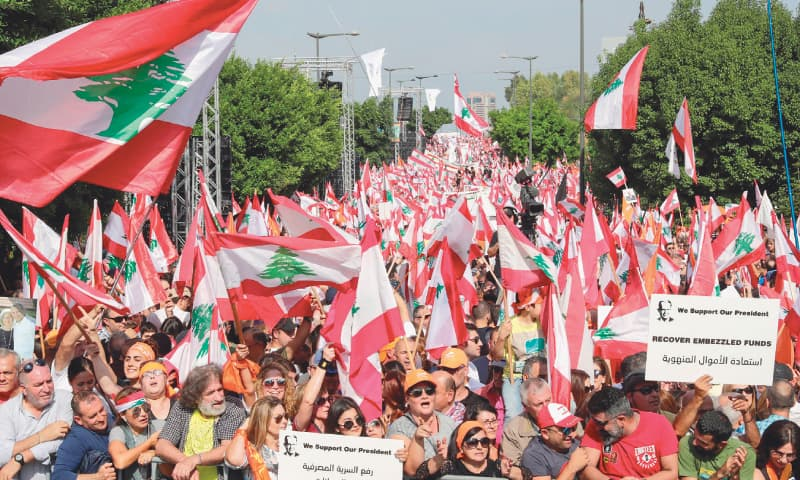 Thousands protest in Lebanon after rally to support president